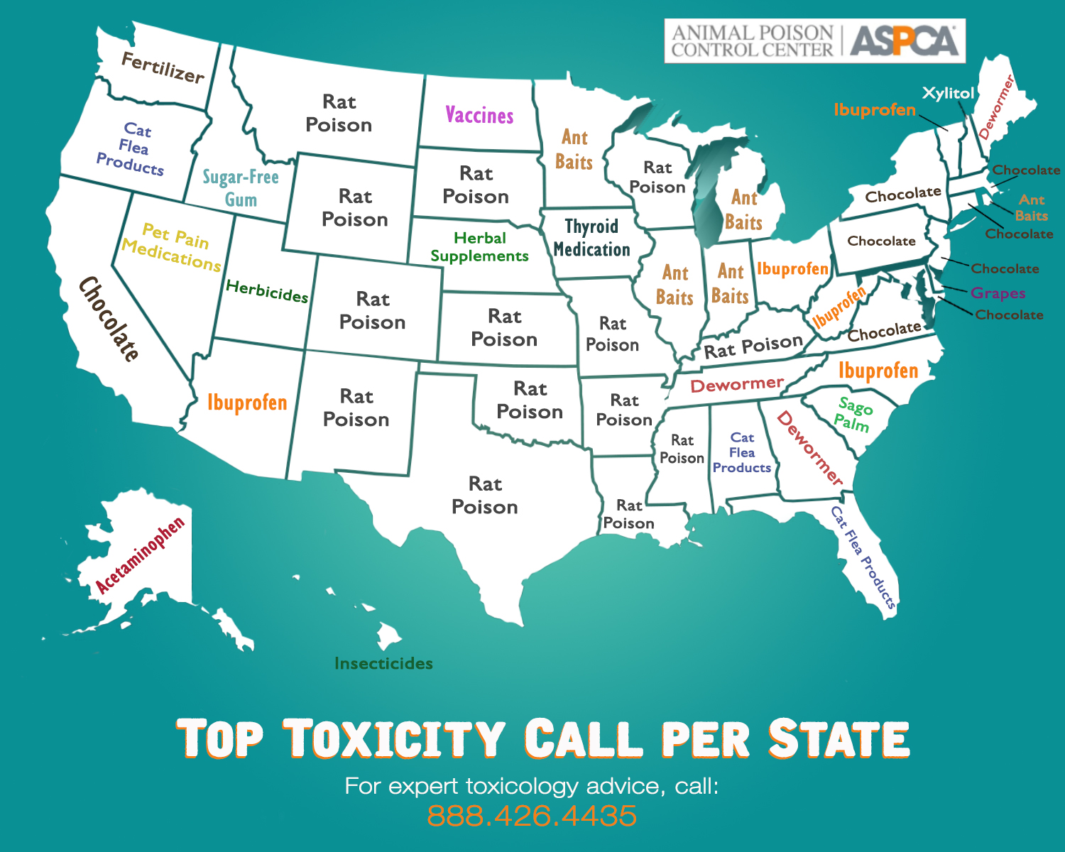 Top Pet Toxin by State
